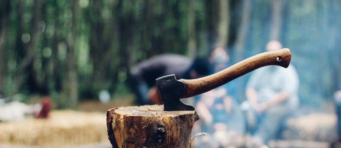 Holz mit Axt