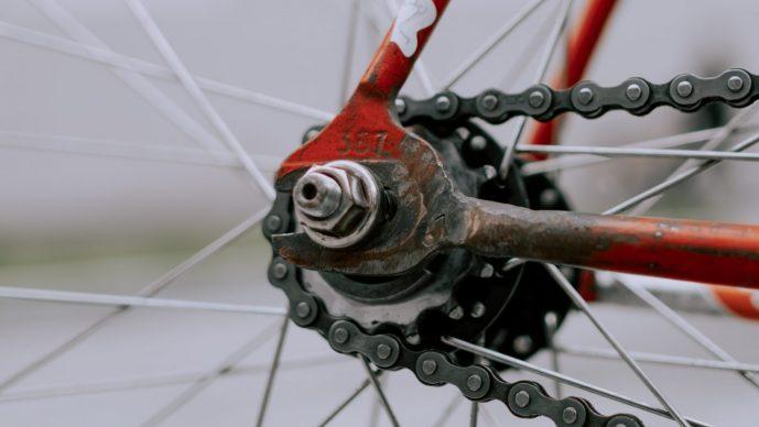 hinterachse fahrrad und fahrradkette